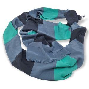 "Burberry Silk 98"" Long Blue Striped Fringe Scarf"